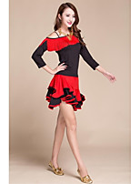 Latin Dance Dresses Women's Performance Elastic Silk-like Satin Tassel(s) 1 Piece Black / Red