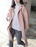 Women's Casual/Daily Simple Coat,Solid Shirt Collar Long Sleeve Winter Pink Wool Medium