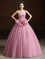 Formal Evening Dress Ball Gown Strapless Floor-length Organza with Flower(s)