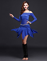 Belly Dance Outfits Women's Performance Spandex / Tulle 2 Pieces Black / Blue / Fuchsia / Royal Blue / Burgundy