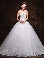 A-line Wedding Dress Court Train Sweetheart Tulle with Appliques / Beading / Bow