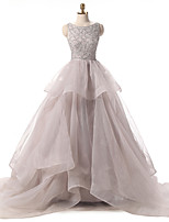 Formal Evening Dress Ball Gown Scoop Court Train Organza with Sequins / Cascading Ruffles