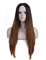 Europe and the United States Straight Selling Foreign Trade Black Light Brown in Long Synthetic Wigs