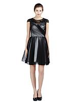 Cocktailfest Dress A-linje Besmykket Knelang Sateng / Tyll med Perler / Kryssdrapering