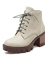 Women's Shoes Chunky Heel Fashion Boots / Round Toe Boots Outdoor / Dress / Casual Black / Gray / Beige
