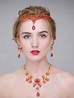 Mulheres Liga Capacete-Casamento Tiaras 3 Peças Vermelho Redonde