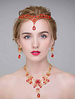 Mujer Aleación Celada-Boda Tiaras 3 Piezas Rojo Redondo