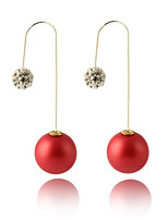 Multicolor Grind Arenaceous Double Pearl Ball Candy-colored Matte Paint Earrings