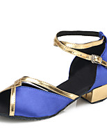 Chaussures de danse(Bleu) -Personnalisables-Talon Plat-Satin / Cuir Verni-Latine / Moderne