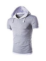 Herren T-shirt-Einfarbig Freizeit / Sport / Übergröße Baumwolle Kurz-Blau / Rot / Grau