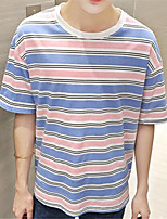 Herren T-shirt-Gestreift Freizeit Baumwolle Kurz-Blau / Rosa