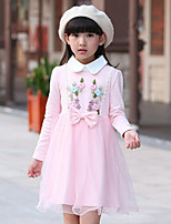 Girl's Casual/Daily Patchwork Dress,Rayon Spring / Fall Pink