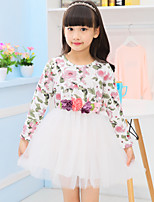 Girl's Casual/Daily Floral Dress,Cotton Spring / Fall Red / White