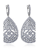 Luxury Retro Drop Earrings Fashion Platinum plated & White Cubic Zircon Party Jewelry Earring