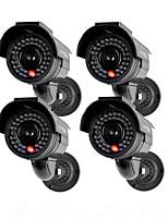 kingneo301s cámara de seguridad simulada de energía solar al aire libre cámara de seguridad simulada con flash LED 4pc negro
