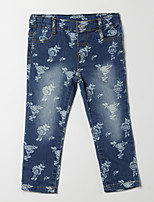 Girl's Casual/Daily Floral Pants,Cotton Fall Blue