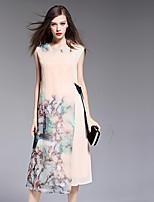 BOMOVO® Women's Round Neck Short Sleeve Tea-length Dress-B16XQM5