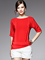 AFOLD® Women's Round Neck Short Sleeve Shirt & Blouse Blue / Red-5537