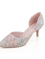 Women's Shoes Leatherette Summer Heels / Pointed Toe Sandals Office & Career / Casual Stiletto Heel Hollow-outSilver /