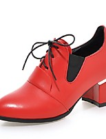 Women's Shoes PU Summer /Fall Comfort / Pointed Toe Heels Office & Career/ Casual Chunky Heel Black / Red