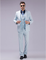 Sky blue Checkered  Single Breasted Two-buttons Closure collar Polyester/Rayon(T/R) Three-Pieces Slim Fit Suit