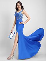 Evento Formal Vestido Trompeta / Sirena Cuchara Larga Tul / Jersey con Apliques