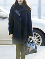 Women's Casual/Daily Simple / Street chic Coat,Solid Shirt Collar Long Sleeve Winter Black Wool Thick