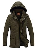 Men's Regular Padded Coat,Cotton Solid Long Sleeve