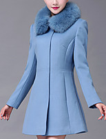 Women's Casual/Daily Simple Coat,Solid / Patchwork Shirt Collar Long Sleeve Fall / Winter/ Cotton / Polyester