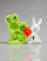 Easter Bunny Tulip Silicone Mould Fondant Cake Decorating Tools for Chocolate Cupcake Candy Polymer Clay Accessories
