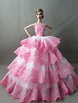 Poupée Barbie-Blanc / Rose-Soirée & Cérémonie-Robes- enSatin / Dentelle
