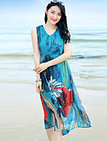 Women's Casual/Daily Sophisticated Swing Dress,Floral V Neck Midi Sleeveless Blue Rayon Summer