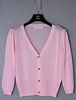 Damen Strickjacke-Ausgehen Niedlich Solide Rosa / Weiß / Orange Langarm Baumwolle Sommer Lichtdurchlässig