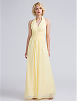 Lanting Bride Ankle-length Chiffon Bridesmaid Dress Sheath / Column Halter with Ruching