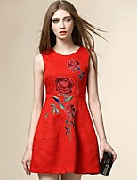 Boutique S Women's Going out Street chic Sheath Dress,Embroidered Round Neck Above Knee Sleeveless Red Cotton Summer