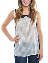 Women's Casual/Daily Simple Summer Blouse,Polka Dot Peter Pan Collar Sleeveless White Polyester Thin