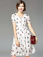 Boutique S Women's Going out Street chic Swing Dress,Print V Neck Above Knee Short Sleeve White Silk Summer