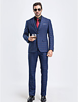 Royal Blue Checkered Single Breasted Two-buttons Closure collar Polyester/Rayon Slim Fit Suit