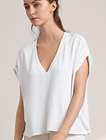 Women's Casual/Daily Simple Summer / Fall T-shirt,Solid V Neck Short Sleeve White Cotton Opaque