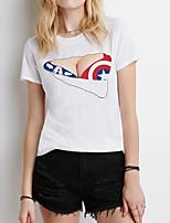 Tee-shirt Aux femmes,Imprimé Soirée Sexy Eté Manches Courtes Col Arrondi Blanc Coton / Polyester Fin
