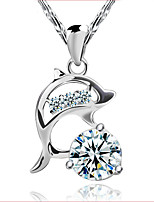 925 Silver Crystal Zircon Short Paragraph Dolphin Pendant Necklace Valentine's Day Gift