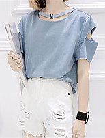 Women's Casual/Daily Sexy Summer T-shirt,Solid Round Neck Short Sleeve Blue / White Polyester Medium