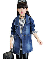 Girl's Fashion Reminiscence Casual/Daily Solid Jeans Long Denim Coat