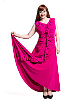 Women's Party/Cocktail / Plus Size Vintage Swing Dress,Solid Deep V Maxi Sleeveless Purple Linen / Rayon Summer