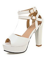 Women's Summer / Fall Heels / Peep Toe PU Office & Career / Casual Chunky Heel Buckle Black / Pink / White