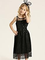 Girl's Cotton Summer Fashion Paillette Round Collar Princess Dress