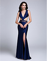 Formal Evening Dress Sheath / Column V-neck Sweep / Brush Train Jersey with Split Front