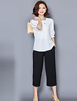 Women's Going out Plus Size / Simple Summer Blouse,Print Round Neck ½ Length Sleeve Pink / White / Black Polyester Thin