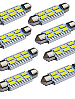 Jiawen 10pcs/lot Festoon 39mm 1.2W 6x 5730 SMD White LED Car Signal Lights (DC 12V)