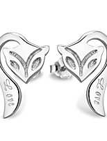 Silver Cute Cartoon Animals Long-tailed Fox Hypoallergenic Earrings